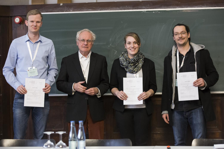Verleihung der ABC-Posterpreise: (v. l.) Sebastian Hagenhoff, Wolf-Dieter Lehmann, Annegret Laub, Boris Krichel.